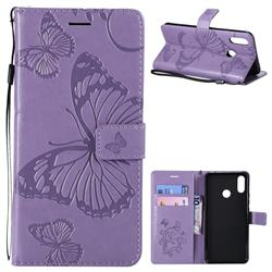 Embossing 3D Butterfly Leather Wallet Case for Huawei Nova 3i - Purple
