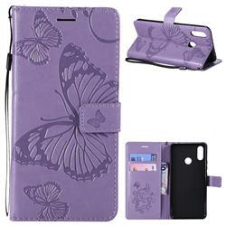 Embossing 3D Butterfly Leather Wallet Case for Huawei P Smart+ (Nova 3i) - Purple