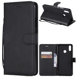 Retro Greek Classic Smooth PU Leather Wallet Phone Case for Huawei P Smart+ (Nova 3i) - Black