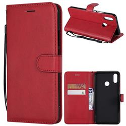 Retro Greek Classic Smooth PU Leather Wallet Phone Case for Huawei P Smart+ (Nova 3i) - Red