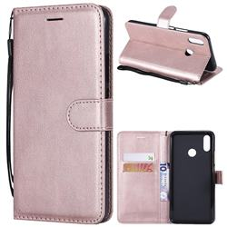 Retro Greek Classic Smooth PU Leather Wallet Phone Case for Huawei P Smart+ (Nova 3i) - Rose Gold