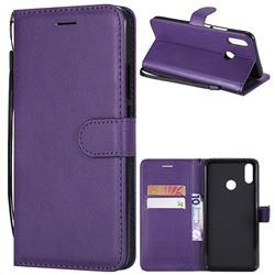 Retro Greek Classic Smooth PU Leather Wallet Phone Case for Huawei P Smart+ (Nova 3i) - Purple
