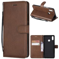 Retro Greek Classic Smooth PU Leather Wallet Phone Case for Huawei P Smart+ (Nova 3i) - Brown