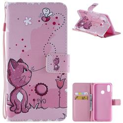 Cats and Bees PU Leather Wallet Case for Huawei P Smart+ (Nova 3i)