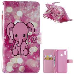 Pink Elephant PU Leather Wallet Case for Huawei P Smart+ (Nova 3i)