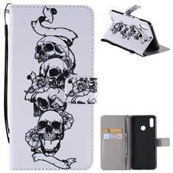 Skull Head PU Leather Wallet Case for Huawei Nova 3i