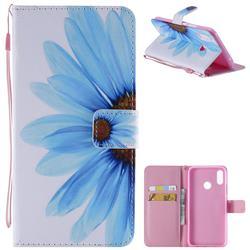 Blue Sunflower PU Leather Wallet Case for Huawei P Smart+ (Nova 3i)