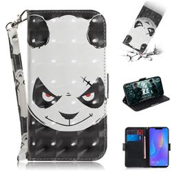 Angry Bear 3D Painted Leather Wallet Phone Case for Huawei P Smart+ (Nova 3i)
