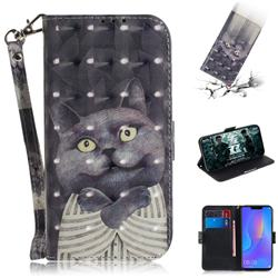 Cat Embrace 3D Painted Leather Wallet Phone Case for Huawei P Smart+ (Nova 3i)