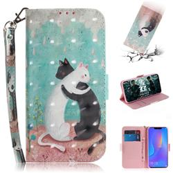 Black and White Cat 3D Painted Leather Wallet Phone Case for Huawei P Smart+ (Nova 3i)