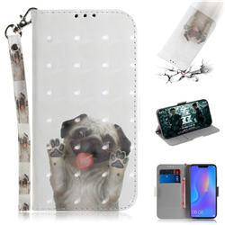 Pug Dog 3D Painted Leather Wallet Phone Case for Huawei Nova 3i