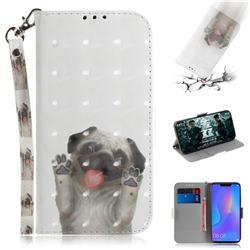 Pug Dog 3D Painted Leather Wallet Phone Case for Huawei P Smart+ (Nova 3i)
