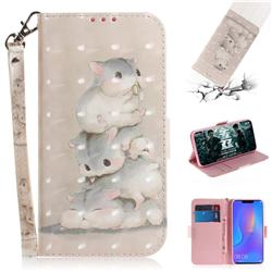 Three Squirrels 3D Painted Leather Wallet Phone Case for Huawei P Smart+ (Nova 3i)