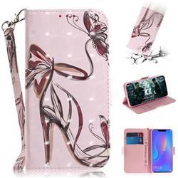 Butterfly High Heels 3D Painted Leather Wallet Phone Case for Huawei P Smart+ (Nova 3i)