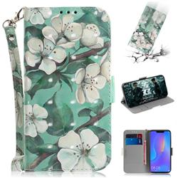 Watercolor Flower 3D Painted Leather Wallet Phone Case for Huawei Nova 3i