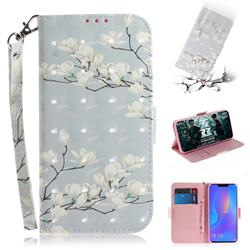 Magnolia Flower 3D Painted Leather Wallet Phone Case for Huawei P Smart+ (Nova 3i)