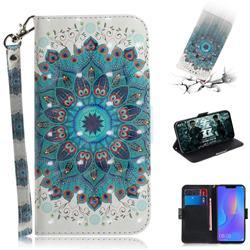 Peacock Mandala 3D Painted Leather Wallet Phone Case for Huawei P Smart+ (Nova 3i)