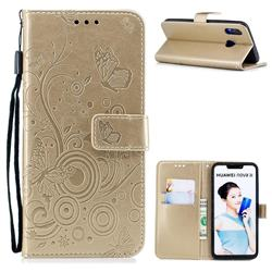 Intricate Embossing Butterfly Circle Leather Wallet Case for Huawei Nova 3i - Champagne