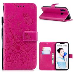 Intricate Embossing Butterfly Circle Leather Wallet Case for Huawei P Smart+ (Nova 3i) - Red
