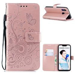 Intricate Embossing Butterfly Circle Leather Wallet Case for Huawei P Smart+ (Nova 3i) - Rose Gold