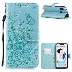 Intricate Embossing Butterfly Circle Leather Wallet Case for Huawei P Smart+ (Nova 3i) - Cyan