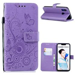 Intricate Embossing Butterfly Circle Leather Wallet Case for Huawei P Smart+ (Nova 3i) - Purple