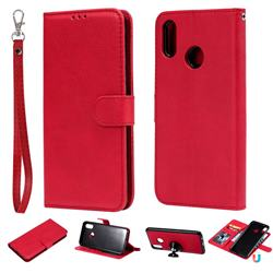 Retro Greek Detachable Magnetic PU Leather Wallet Phone Case for Huawei P Smart+ (Nova 3i) - Red