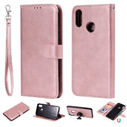 Retro Greek Detachable Magnetic PU Leather Wallet Phone Case for Huawei P Smart+ (Nova 3i) - Rose Gold