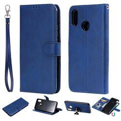 Retro Greek Detachable Magnetic PU Leather Wallet Phone Case for Huawei P Smart+ (Nova 3i) - Blue