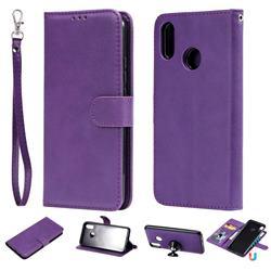 Retro Greek Detachable Magnetic PU Leather Wallet Phone Case for Huawei P Smart+ (Nova 3i) - Purple