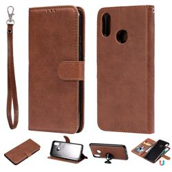 Retro Greek Detachable Magnetic PU Leather Wallet Phone Case for Huawei P Smart+ (Nova 3i) - Brown