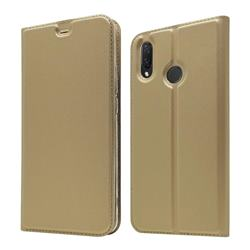 Ultra Slim Card Magnetic Automatic Suction Leather Wallet Case for Huawei Nova 3i - Champagne