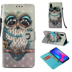 Sweet Gray Owl 3D Painted Leather Wallet Case for Huawei P Smart+ (Nova 3i)