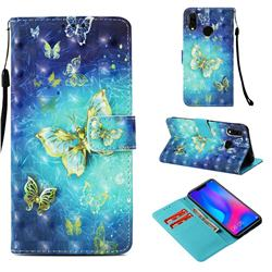 Gold Butterfly 3D Painted Leather Wallet Case for Huawei P Smart+ (Nova 3i)