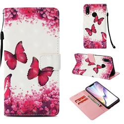 Rose Butterfly 3D Painted Leather Wallet Case for Huawei P Smart+ (Nova 3i)