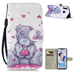 Love Panda 3D Painted Leather Wallet Phone Case for Huawei P Smart+ (Nova 3i)