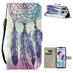 Feather Wind Chimes 3D Painted Leather Wallet Phone Case for Huawei P Smart+ (Nova 3i)