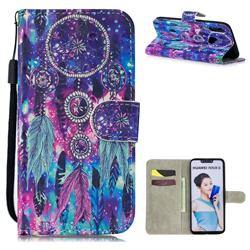 Star Wind Chimes 3D Painted Leather Wallet Phone Case for Huawei P Smart+ (Nova 3i)