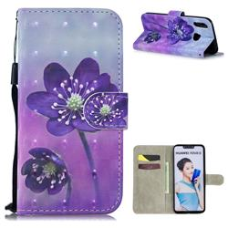 Purple Flower 3D Painted Leather Wallet Phone Case for Huawei P Smart+ (Nova 3i)