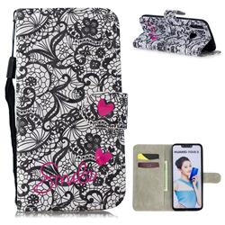 Lace Flower 3D Painted Leather Wallet Phone Case for Huawei P Smart+ (Nova 3i)
