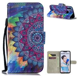 Oil Painting Mandala 3D Painted Leather Wallet Phone Case for Huawei Nova 3i