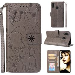 Embossing Fireworks Elephant Leather Wallet Case for Huawei P Smart+ (Nova 3i) - Gray