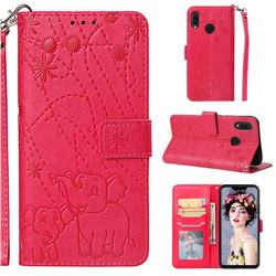 Embossing Fireworks Elephant Leather Wallet Case for Huawei P Smart+ (Nova 3i) - Red