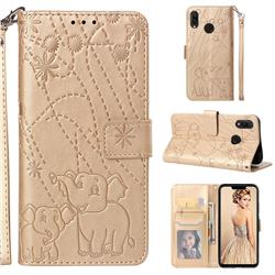 Embossing Fireworks Elephant Leather Wallet Case for Huawei P Smart+ (Nova 3i) - Golden