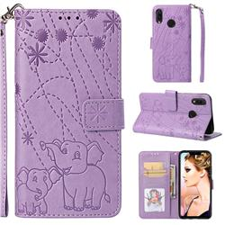 Embossing Fireworks Elephant Leather Wallet Case for Huawei P Smart+ (Nova 3i) - Purple