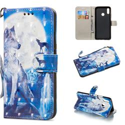 Ice Wolf 3D Painted Leather Wallet Phone Case for Huawei Nova 3i