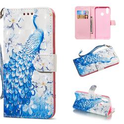 Blue Peacock 3D Painted Leather Wallet Phone Case for Huawei Nova 3i