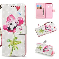 Flower Panda 3D Painted Leather Wallet Phone Case for Huawei Nova 3i