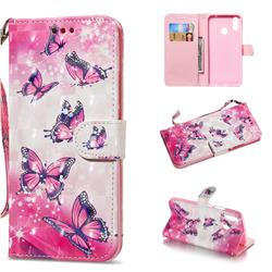 Pink Butterfly 3D Painted Leather Wallet Phone Case for Huawei Nova 3i