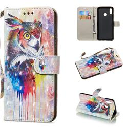 Watercolor Owl 3D Painted Leather Wallet Phone Case for Huawei Nova 3i